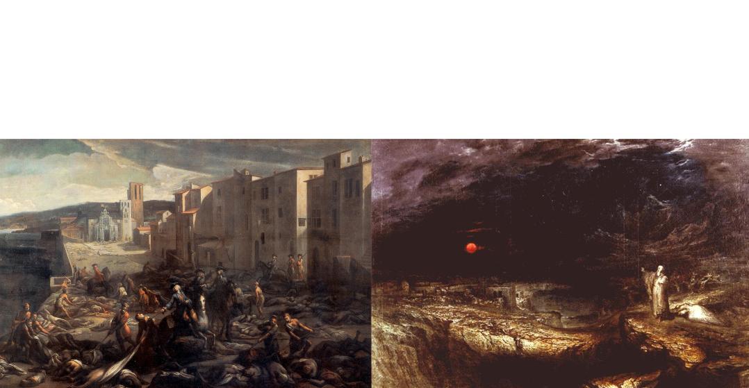 Michael Serre, Scene of the Plague of 1720 at La Tourette; John Martin, The Last Man