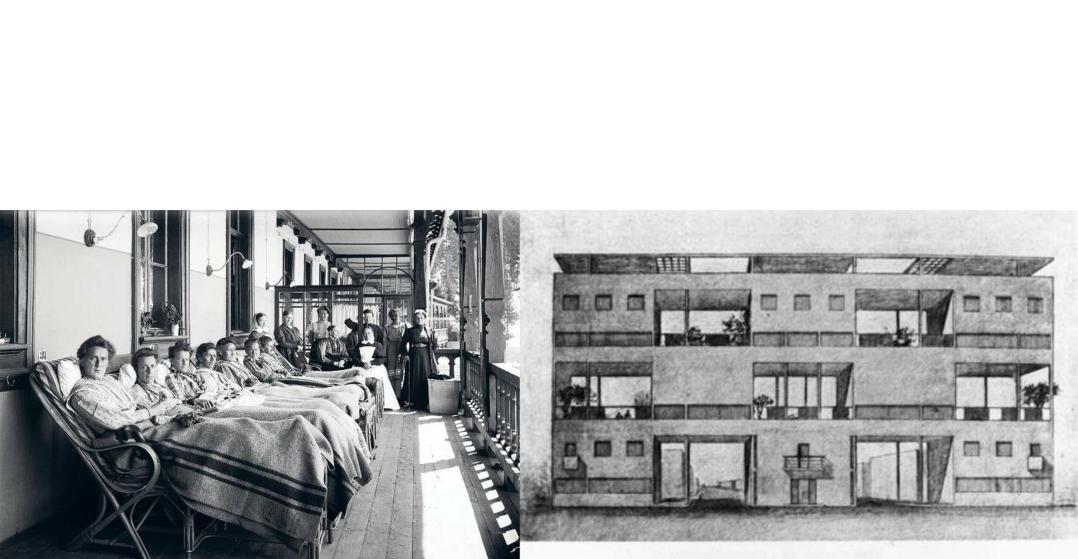 Sanatorium patients in Davos, 1910; design for a housing development, Le Corbusier.